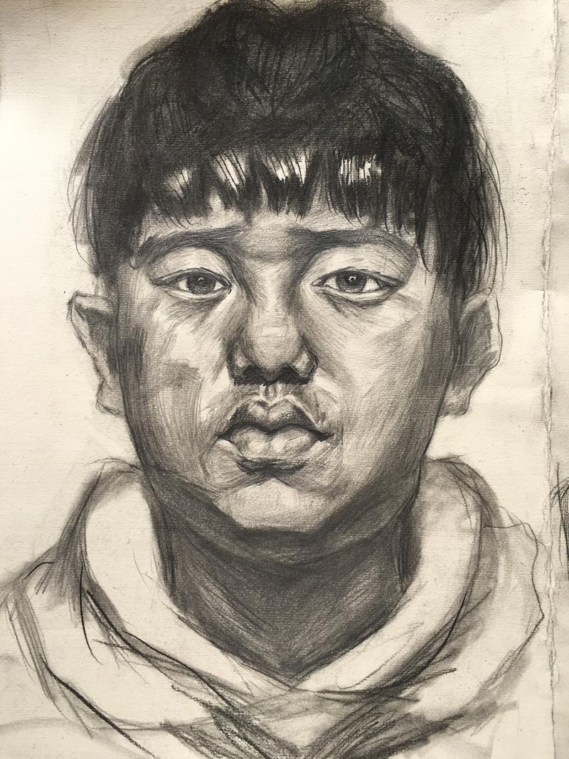 学生美术作品赏析 头像素描